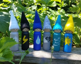 Wooden Weather Gnomes Peg Dolls Woldorf Inspired