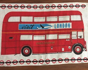 Vintage London Double Decker Bus Tea Towel