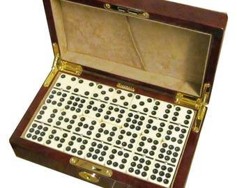 Laminated Camphor Burlwood Double 9 Domino Set (LG207)