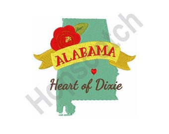 Heart Of Dixie - Machine Embroidery Design - 5 X 7 Hoop, Alabama, State, Map
