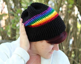 Rainbow Pride Slouchy Hat - Chunky Knit Hat - Gay Pride - Slouchy Hat - Slouchy Hat - Beanie - Slouchy Beanie - Rainbow