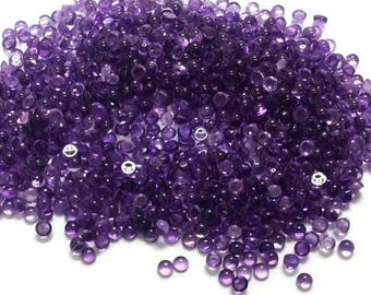 100 piece 4mm Purple Round Amethyst Cabochons - 100% Natural Amethyst Gemstone - 4mm Round Amethyst Cabochon- Purple Amethyst Cabochon Round