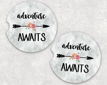 Coasters for Car - Sandstone Car Coaster - Adventure Awaits - Floral Car Coasters - Car Decor - Sandstone Coasters - Custom Car Coaster