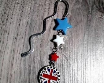 "Original bookmark ""I Love UK"", original creation, United Kingdom, England, england, union jack, stars"