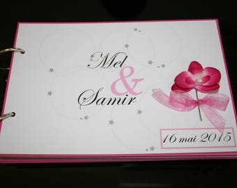Gold pink white flowers Fuchsia 60 pages book