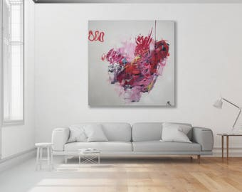 Colorful Abstract Painting / Original Art / Colorful Painting / Pink Abstract Art / Extra Large Art / Modern Art
