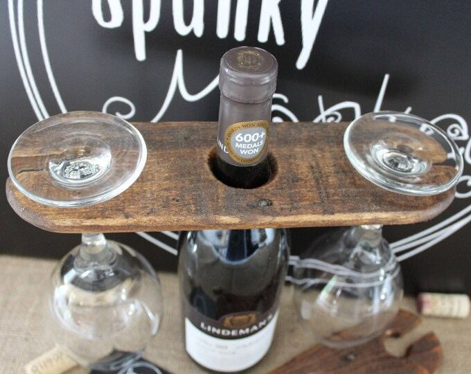 Featured listing image: WINE GLASS CADDY Pallet Wood