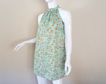 Vintage 60s Dress / 60s Mod Dress / 60s Beach Cover Up / 60s Cotton Sundress / Floral Pattern Dress / Size XS - M