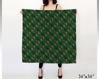 Green Scarf, Gift Woman, Christmas Gift, Gift Idea, Printed Scarf, Square Scarf, Long Scarf, Chiffon Scarf, Satin Scarf, Stocking Stuffer