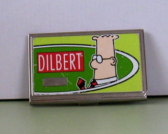Vintage Gold Tone Metal with Enamel DILBERT Business Card Holder