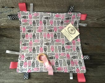 Doudou labels toy baby OWL pink and Grey tie pacifier clip grey minky teething toy