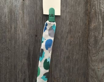 Attached to pacifier or blue green Porcupine Hedgehog teething toy