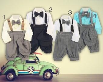 Baby to Boys Retro Plaid Checker 5 piece Suspender Set, Shirt Shorts Bowtie Hat, Brown Black Grey