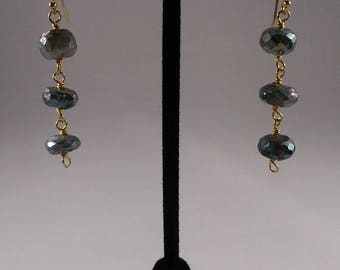 Labradorite and Gold Vermeil Chain Earrings
