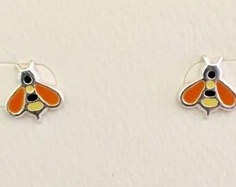 Sterling Silver Yellow/Black/Orange Bee Earrings