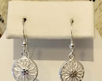 Sterling Silver Puffed Filagree Disc Earrings