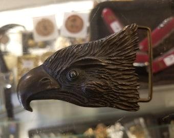 Vintage Eagle Head Solid Brass Belt Buckle