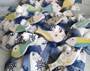 Ceramic favors for children-ceramic magnets-fish magnets-favors for baptism-favor bags-Ceramic fish