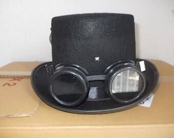 Gothic Hut. Hat. Schwarze Zylinder. Goggles. Gothic Deko. Size 55