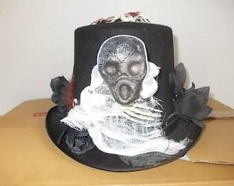 Halloween Gothic Hut. Hat. Hoherer Zylinder. Skull. Spinne. Schwarze Rosen. Size 59