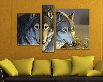 Wolves Wall Art, Large Canvas art, Interior Art, Room Decoration, Photo gift, Extra Large Wall decor 4 Panel Canvas, Photo Print on Canvas,