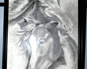 Original Pencil Drawing on Paper. Horses. Couple