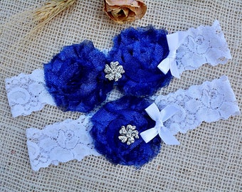 Glitter Royal Blue Garter, Pearl Cristal Lace Wedding Garter Set, Something Blue Garter Set, Sapphire Blue Bridal Garter, Cobalt Blue Garter
