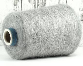 Super kid mohair/silk (Italy) on cones, silver grey, per 100 g: Y_10
