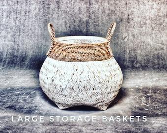 Recycled Wicker Storage Baskets