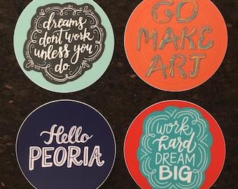 Hand-Lettered Circle Sticker Set