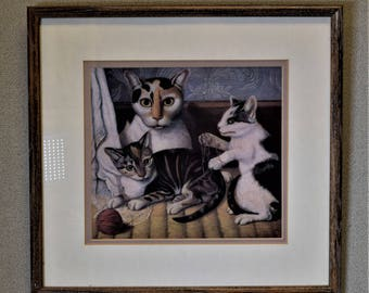 Cat Picture Kitschy Cats Playing with Yarn Vintage Framed Picture