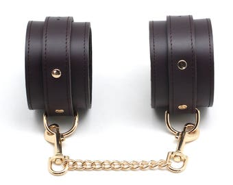 Bondage Ankle cuffs, Brown Leather,Fetish, Sex toys, BDSM,bdsm ankle restraint, bdsm cuffs, restraints (mature)