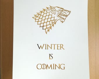 Game of Thrones Wall Art - GOT Fan Foil Print - Winter Is Coming - Stark Wolf Game of Thrones Sigil - Gold, Silver, Copper Home Decor
