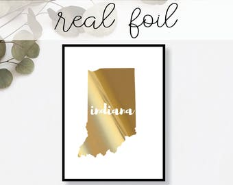Indiana State Print // Real Gold Foil // Minimal // Gold Foil Print // Decor // Modern Office Print // Typography // Fashion Print