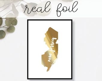 New Jersey State Print // Real Gold Foil // Minimal // Gold Foil Print // Decor // Modern Office Print // Typography // Fashion Print
