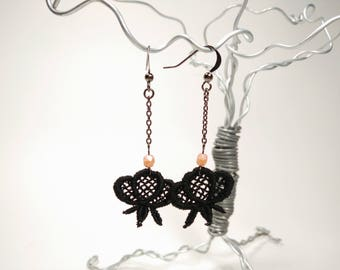 Black Venice Lace Earrings with Pale Pink Faceted Glass Beads