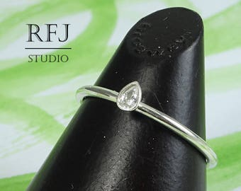 Pear Cut Lab Diamond Silver Ring, Teardrop White Cubic Zirconia 3x2 mm Thin Sterling CZ Ring White Diamond Stacking August Birthstone Ring