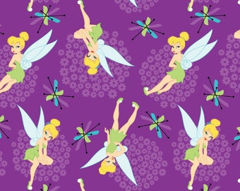 "In Stock- Disney Fabric, Tinker Bell Fabric: NEW Disney Tinkerbell Toss Purple 100% cotton fabric by the yard 36""x43"" (SC373)"