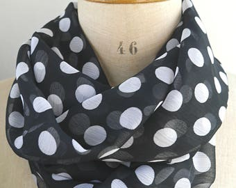 dotted loop scarf, black white scarf, white dots scarf, dotted infinity scarf, scarf with dots, womens scarves, gift for her, summer scarf