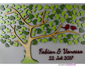 3D tree wooden wedding wedding tree guest book guest book Mr Mrs with name and date with heart