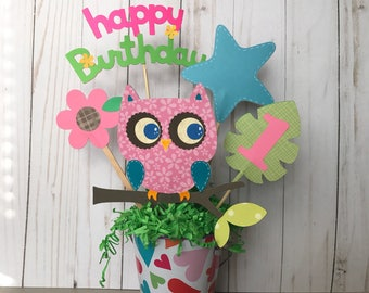 Owl centerpieces, owl baby Shower centerpiece, pink owl themed party, owl  1st birthday centerpiece,