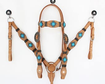 light Oil Turquoise & Rawhide Headstall Leather Western Horse Trail Bridle Breast Collar Plate Barrel Racer Cowgirl Tack Set