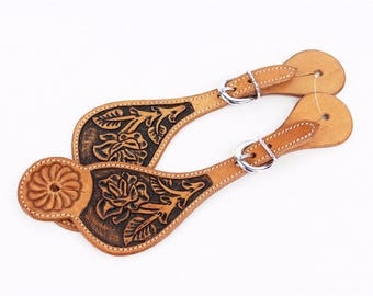 Floral Tooled Leather Western Horse Barrel Trail Show Spur Straps Tack Set