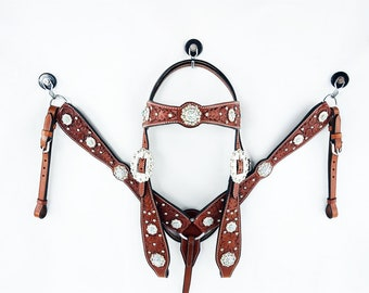 Handmade Swarovski Crystal Bling Western Barrel Trail Horse Headstall Leather Bridle Breast Collar Plate Tack Set