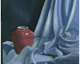 Giclee Canvas Print of an Original Painting Fabric Study Still Life - 11 inches x 14 inches
