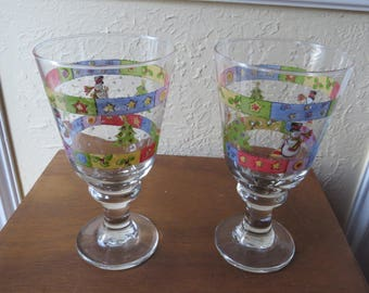 Set of 2 Sue Zipkin CHRISTMAS Sweet Shoppe Glasses Goblets RARE
