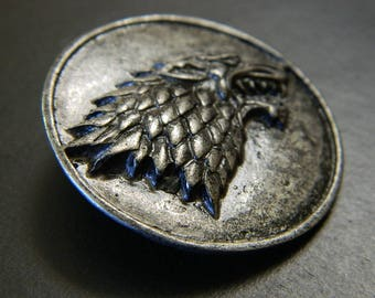 Pewter Grey GoT House Stark Banner-Man Pin Version #2 - Game of Thrones Stark Dire Wolf Pin - Silver Gray Northern Westeros Lapel Pin