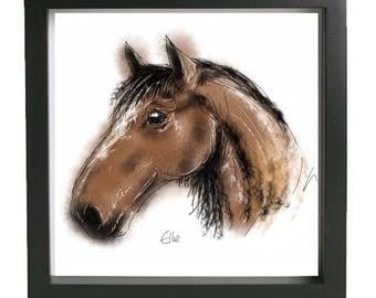 Framed horse print // horse print // horse art // equine art // horse wall art // horse gifts // horse painting // horse racing gift