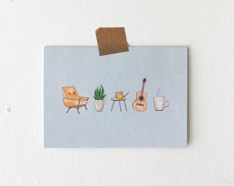 Homebody Illustrated Blank Greeting Card