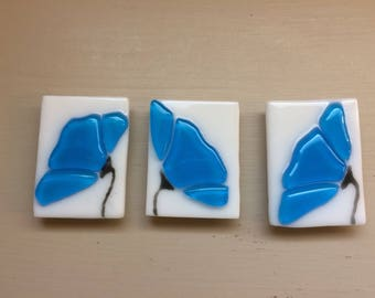 Turquoise Blue Flower Stained Glass Fused Kitchen Magnet Set of Three
